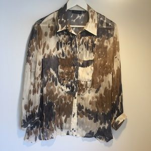 GORDON SMITH sz 16 silk blouse long sleeves
